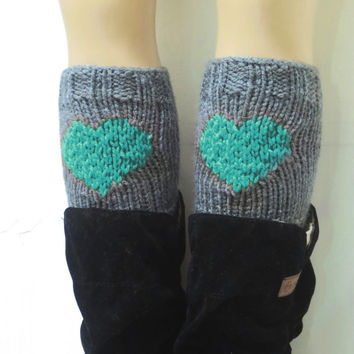 Gray Mint Short Heart Knit Boot Cuffs. Love Heart Short Leg Warmers. Crochet heart Boot Cuffs. Legwear gray Mint