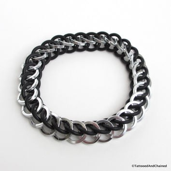 Half Persian 3 in 1 chainmaille stretchy bracelet, silver and black square wire