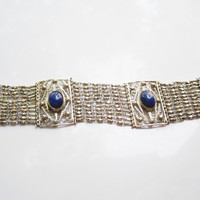 Vintage Egyptian Bracelet 800 Silver and Lapis