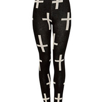 Cameo Rose Black Cross Knitted Leggings