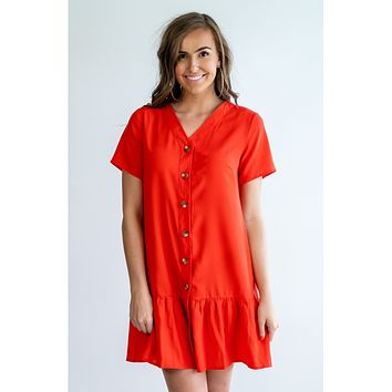 Valentina Drop-Waist Ruffle Button-Down Dress