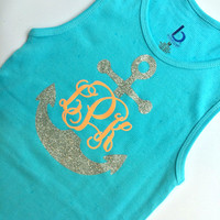 Glitter Monogrammed Tank top, Personalized Tank top for Girls, Teens, Women, You Choose Design, Anchor, Bow, Batons