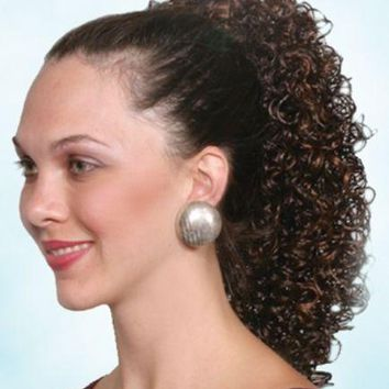 """15"""" LONG WETLOOK SPIRAL CURL CURLY HAIR PONYTAIL HAIRPIECE CLAW CLIP POPPY"""