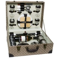 SheilaShrubs.com: Luxury Wooden Picnic Chest For Four PB1-3417 by Picnic & Beyond: Picnic Baskets & Totes