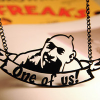 Schlitzie Sideshow Freak necklace in black stainless steel - Pinhead Circus Sideshow Performer - One of us