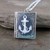 Anchor Book Locket Necklace