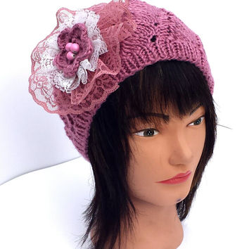 Knit pink hat, decorated with vintage flower, stretchy, warm beanie, beautiful, unique, winter accessory.