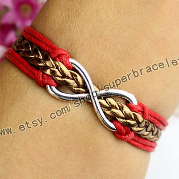 Infinity bracelet, ancient silver charm, the charm of leather cord, personalization, girlfriend and BFF