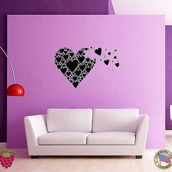 Wall Sticker Hearts Romantic Love Modern Decor for Bedroom Unique Gift z1326
