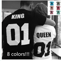New Fashion Street Style Hip-hop King And Queen Couples T-shirt
