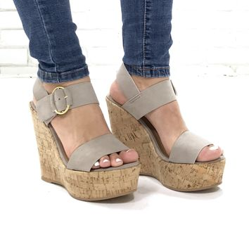 Sands Of Time Platform Wedges in Taupe