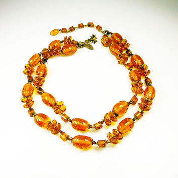 Vintage Miriam Haskell Necklace Amber Tortoise Glass Bead Designer Jewelry