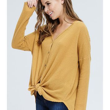 Button Down V-Neck Thermal Sweater