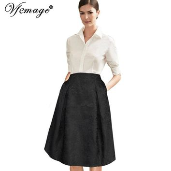 Vfemage Womens Elegant Vintage High Waist Floral Flower Casual Wear To Work Office Party Skater A-line Skirt 3200