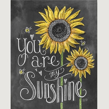 You Are My Sunshine Nursery Art - Sunflower Art - Childs Room Decor - Chalk Art