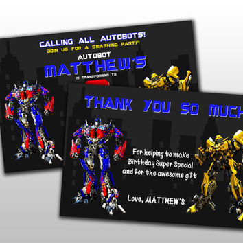 Transformers cake toppers Birthday Invitation and Thank You Card, Design for digital file