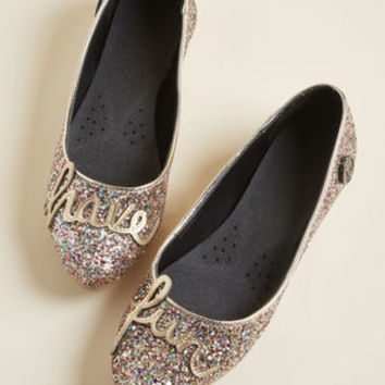 Loly in the Sky Have Fun Glitter Ballet Flat