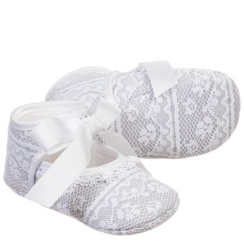 Baby Girls Grey Lace Pre-Walker Shoes