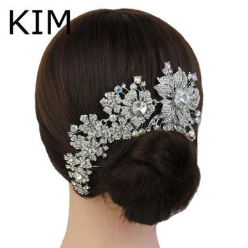 PEAPU3S 2015 Promotion Tiara Noiva Winsome Wedding Hair Comb Bridal Accessories Vintage Comb, Rhinestone White, Side Tiara, Crystals