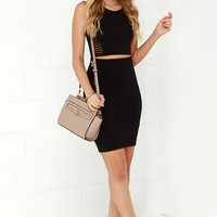 Beauty Unveiled Black Bodycon Two-Piece Dress
