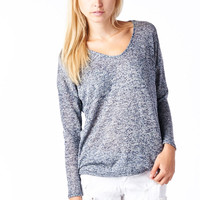 Grey Hacci High-Low Dolman Top