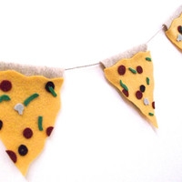 Supreme Pizza banner, 90s pizza banner, cheese pizza felt banner