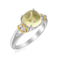 18K Yellow Gold & Sterling Silver Claw Set Square Lemon Quartz and Diamond Ring: Size 7