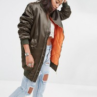 Boohoo | Boohoo Exclusive Longline Satin Bomber Jacket at ASOS