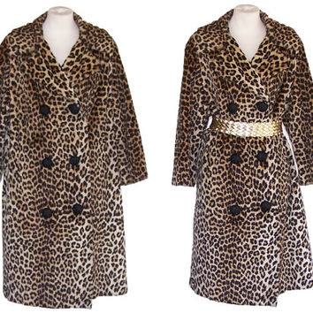 70s Leopard Coat Vintage Faux Fur Jacket L to XL Free Domestic and Discounted International Shipping