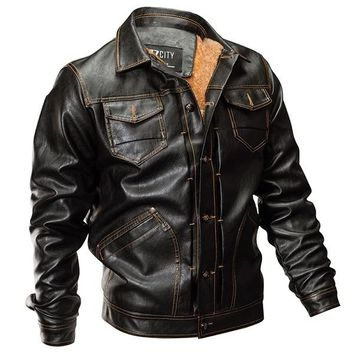 Winter PU Leather Jacket Men Tactical Army Bomber Jacket Warm Military Pilot Coat Thick Wool Liner Motorcycle Jacket