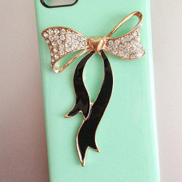 Dazzling black bow iphone 4 case , 4s case and iphone 5 case in Mint