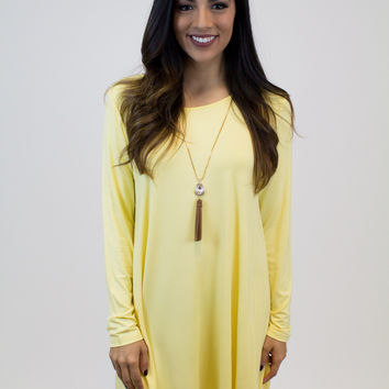 Yellow Trapeze Piko Dress