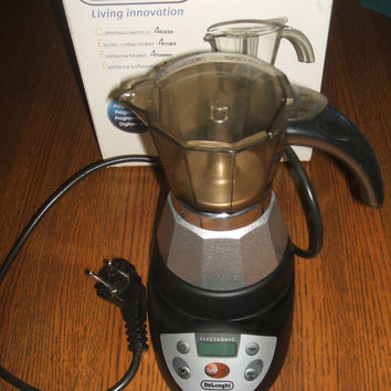 Espresso Coffee Maker Delonghi Moka Alicia EMKE42 Italian 220-240V Electrical Digital Programmable 2 or 4 Cup Automatic Brewer Appliance NIB