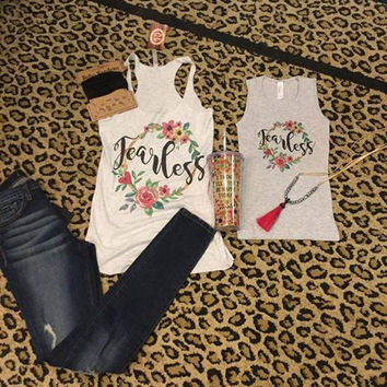 Fearless Tank with Floral- Matching Mom & Daughter women & kids