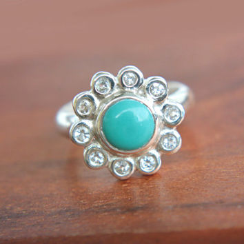 Turquoise Halo Ring Sleeping Beauty Turquoise Ring White Topaz Engagement Promise Ring Sterling Silver Silversmithed