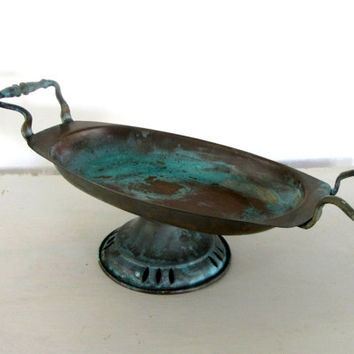 Decorative tray. Rustic tray. Copper tray. Footed tray. Pedestal dish. Table centerpiece. Kitchen decor. Verdigris. Vintage.