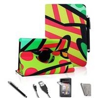 FINTIE Stylish 360 Rotating PU Leather Case Cover Value Package with Screen Protector/Stylus/USB cable for Amazon Kindle Fire (Graffiti Green)