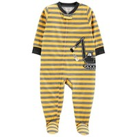 Baby Boy Carter's Striped Construction Truck Footed Pajamas | null