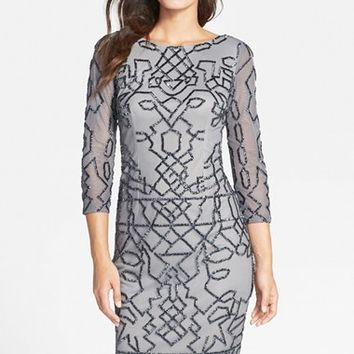 Women's Adrianna Papell Long Sleeve Beaded Cocktail Dress,