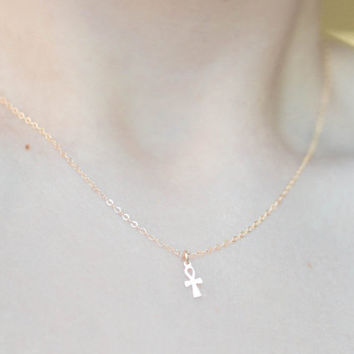 Ankh Necklace • 14K Gold filled or SS • Dainty petite Egyptian Hieroglyph • Crux Ansata - Handled cross • Hieroglyphics • Key of the Nile