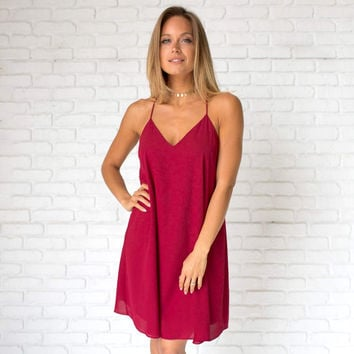 Summer Binge Shift Dress in Burgundy