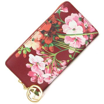 One-nice™ GUCCI Auth 409342 Gucci Icon Wallet Red Flower Pattern Ladies NOS Mint #1544