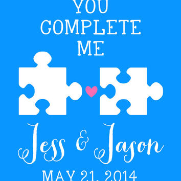 Jigsaw Piece Love Print - 8x10 Custom Art, Wedding Gift, Gift for Boyfriend, Gift for Husband - Puzzle Piece, You Complete Me, Perfect Fit