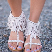 Far & In Between Studded Fringe Sandals In Cream