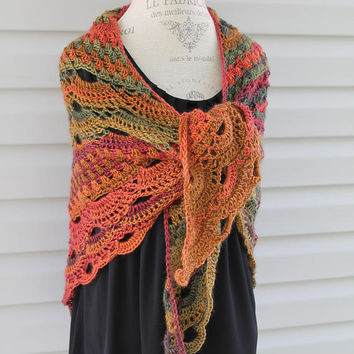 Virus Shawl, Crochet Wrap, Autumn Mulit Color, Women or Teen, Triangle Scarf