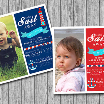 Personalized Nautical Birthday Invitation, Photo Nautical Theme Sail, Navy Blue White and Red (PRINTABLE file, Download, Custom Order)