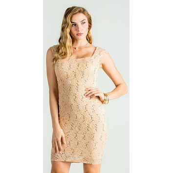 Lace Gold Fitted Short Party Dress Sleeveless