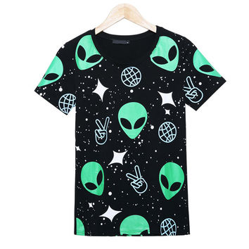Punk Alien ET Print Black T Shirt
