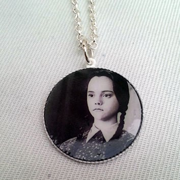 Wednesday Addams inspired, The Addams family inspired white pendant necklace