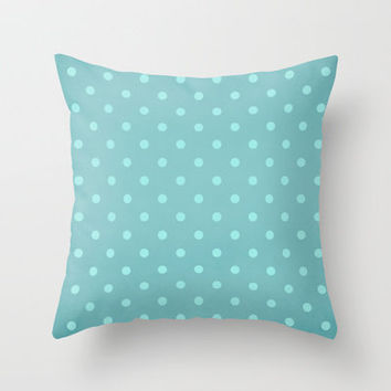 Polka Party Teal Throw Pillow by Shawn Terry King